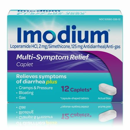 Imodium Multi-Symptom Relief Anti-Diarrheal Medicine Caplets, 12