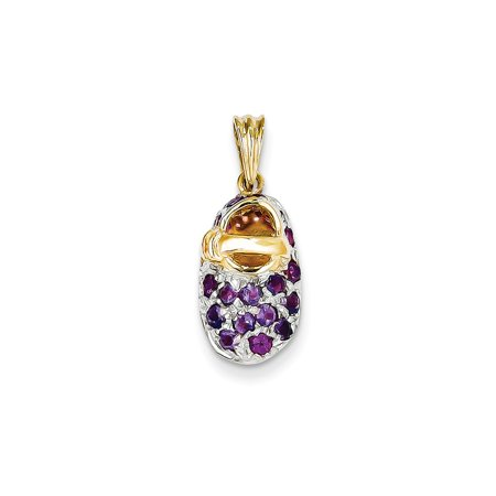 - 14K Yellow & Polished Finish Prong-Set February Created Synthetic Amethyst Baby Shoe Charm 23mm x 9mm