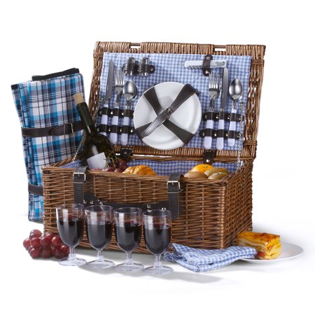Picnic Basket Set for 4 Person / Rectangular Tote Hamper Kit - Insulated Waterproof Wicker Picnic Blanket w/ Plate Metal Flatware Table Supplies Wine Glasses Bottle Opener Blue Gingham Lining 2 Person Willow Picnic Basket