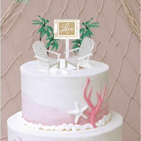 Love Sign with 2 Beach Chairs Wedding/ Anniversary Cake Decoration Topper with Trees](Beach Cake Topper)