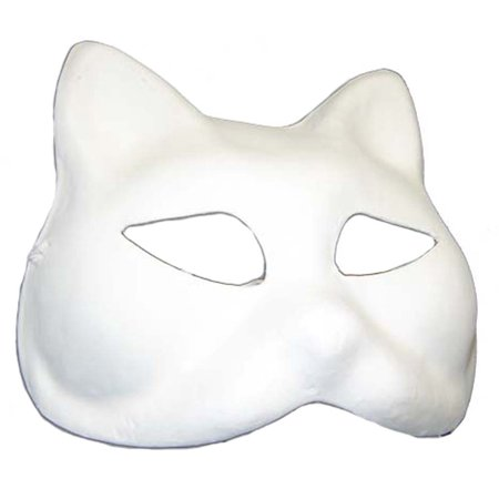 Cat Mask For Halloween (WHITE CAT MASK - Plain Arts and Crafts Masks -)
