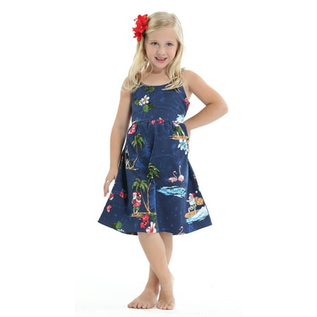 Girls Christmas Island - Hawaii Hangover Girl Elastic Strap Dress Christmas Dress Santa Navy 1-2