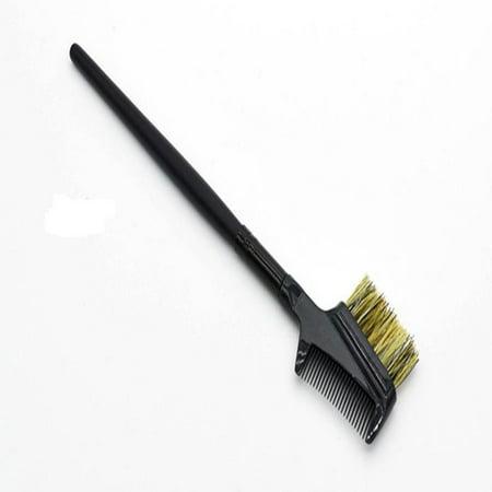 Steel Eyebrow Eyelash Dual-Comb Extension Brush Metal Comb Cosmetic Makeup Tool ()