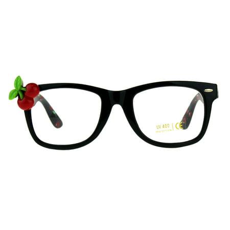 Womens Cherry Pin Jewel Horn Rim Clear Lens Plastic Sunglasses Black