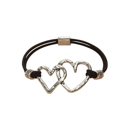 Basic Spirit Two Hearts Stretch Bracelet - Hammered Pewter Hearts on Nylon Band