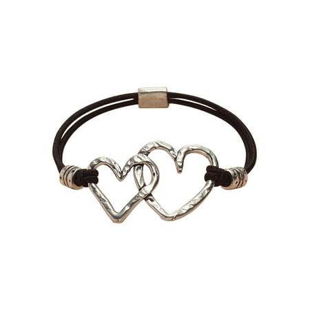 Basic Spirit Two Hearts Stretch Bracelet - Hammered Pewter Hearts on Nylon Band