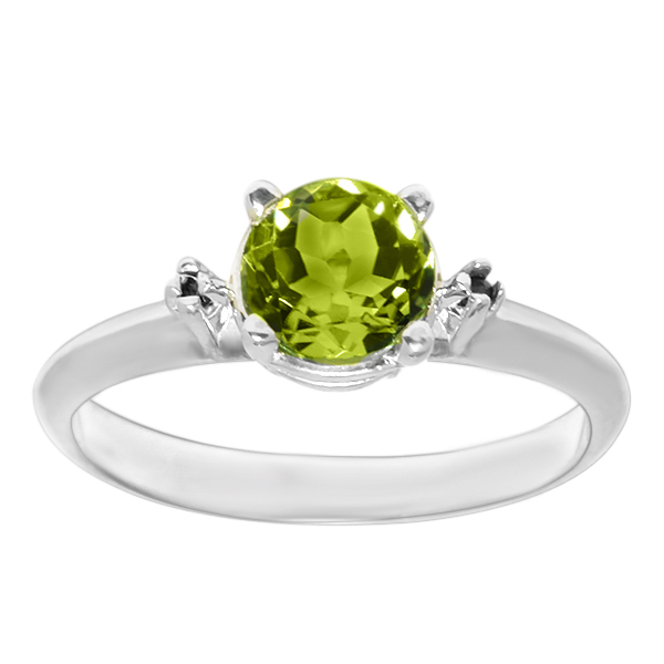 0.76 ct 6 mm Oval Cut Peridot 925 Sterling Silver Ring