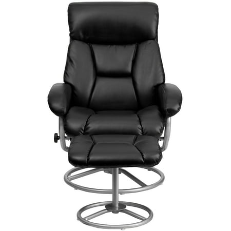 Flash Furniture Contemporary Leather Recliner and Ottoman with Metal Base, Multiple Colors ()