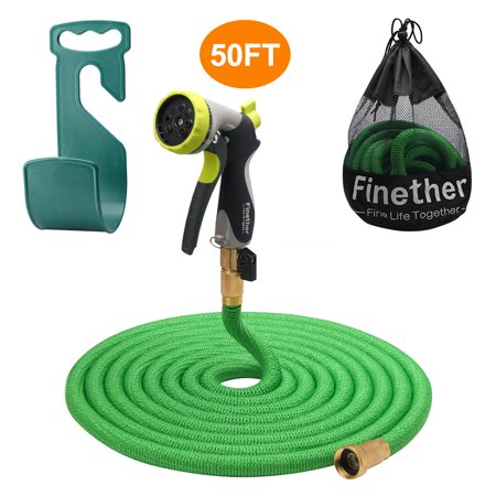 Finether Expandable water hose, Retractible Garden Hose, Hose Pipe with Double Latex Core, High Density Woven Fabric, 3/4 In Brass Fittings, 8 Way Spray Nozzle, Hanger, Storage Bag, Green 50 ft (Water Hose Three Way)