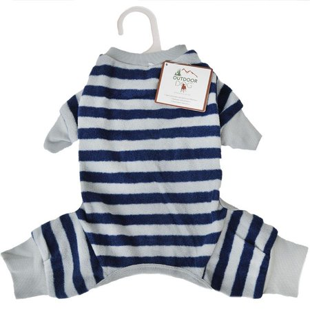Fake Dog Tail (Fashion Pet Lookin Good Striped Dog Pajamas - Blue X-Small - (Fits 8-10 Inch Neck to)