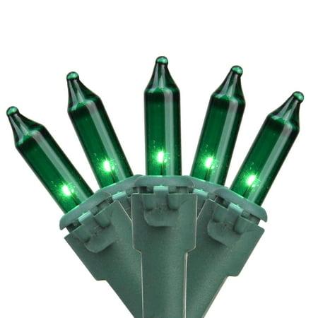 Set of 100 Green Mini Christmas Lights 2.5 Spacing - Green Wire