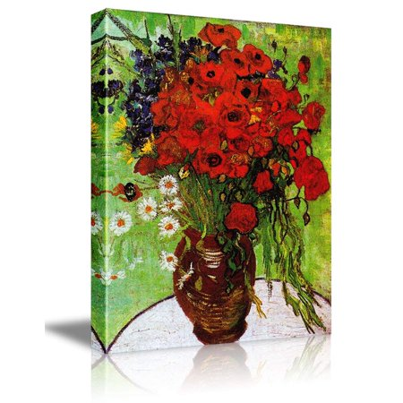 wall26 Red Poppies and Daisies by Vincent Van Gogh - Oil Painting Reproduction on Canvas Prints Wall Art, Ready to Hang - 32