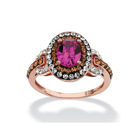 Oval-Cut Fuschia Crystal Halo Ring MADE WITH SWAROVSKI ELEMENTS in Rose Gold over Sterling Silver