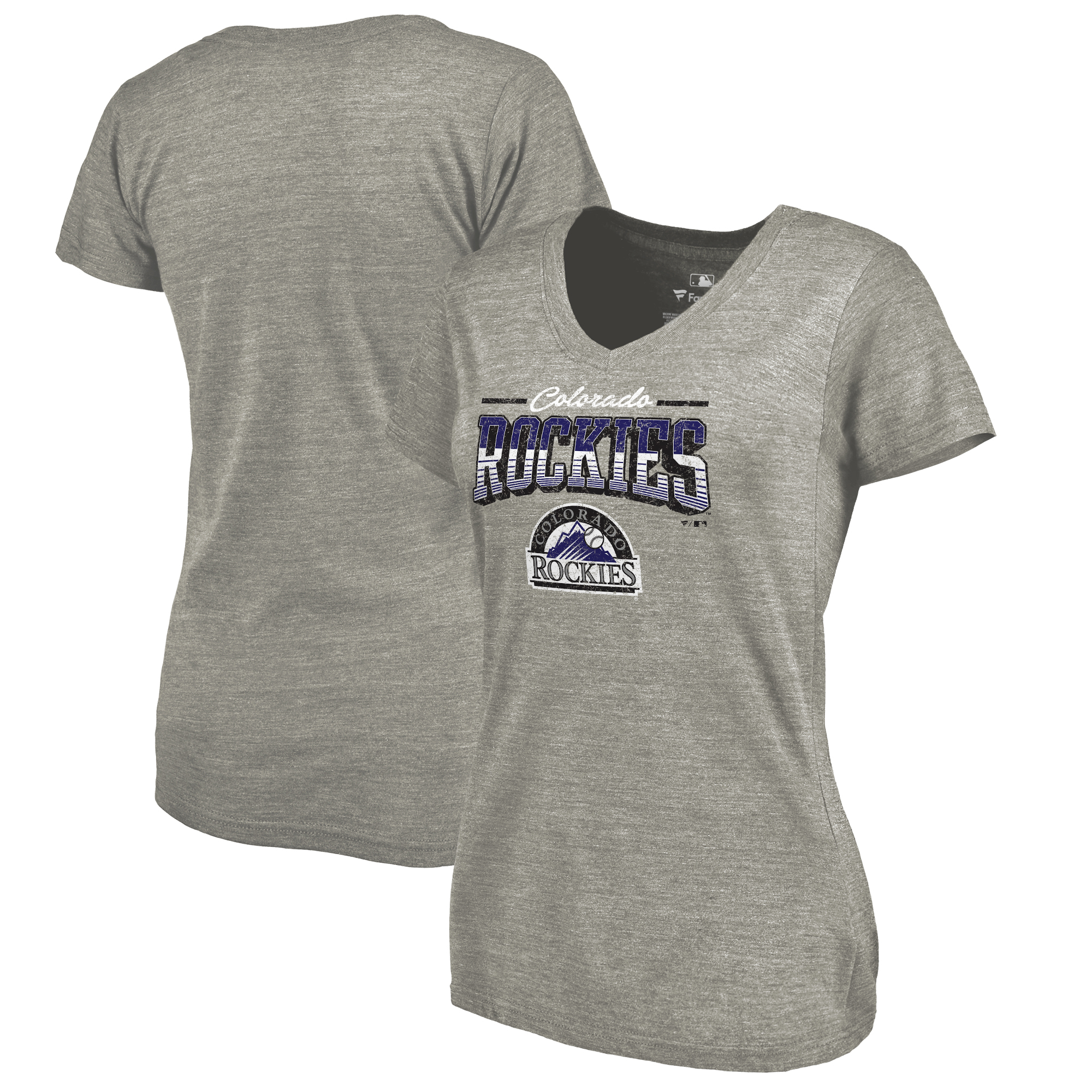 Colorado Rockies Fanatics Branded Women's Cooperstown Collection Season Ticket Tri-Blend V-Neck T-Shirt - Heathered Gray