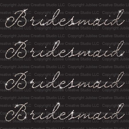Set of 4 Bridesmaid Iron On Rhinestone Crystal T-shirt Transfer by Jubilee Rhinestones