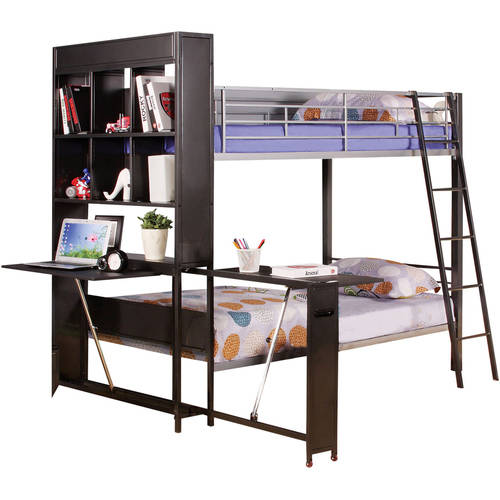 Risley Twin Over Twin Metal Bunk Bed With Desk, Silver U0026 Black