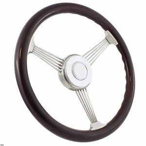 (Steel String Banjo Steering Wheel Dark Wood Grip 380mm (15
