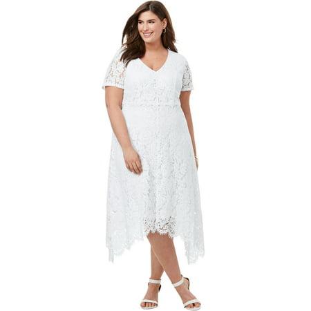 Jessica London Women's Plus Size Lace Handkerchief Dress Jessica Lace Wedding Dress