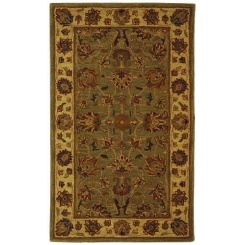 Charlton Home Cranmore Hand-Tufted Wool Green/Gold Area Rug