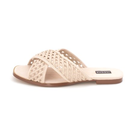 17cd37c31 JAGGAR Womens Crossrd Flat Leather Open Toe Casual Slide - image 1 of 2 ...