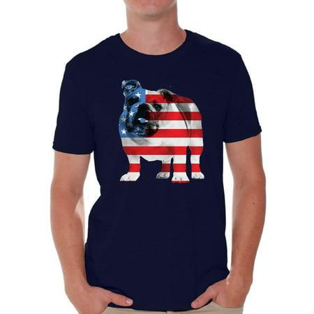 c45c14df Awkward Styles American Flag Shirts Bulldog American Patriotic T-shirt Tops for  Men USA Flag Tshirt 4th Of July Gifts for Dog Owners Bulldog Lover Shirt Red  ...