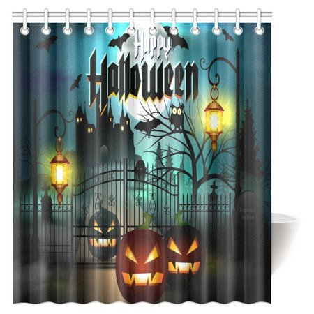 MYPOP Scary Decorations Shower Curtain, Happy Halloween Spooky Carved Halloween Pumpkin Decor Art Fabric Bathroom Decor Set with Hooks, 66 X 72 Inches - Scary Halloween Pumpkin Carving Patterns