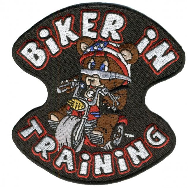 "Biker In Training Kids ""teddy Bear Biker Children's Design"", Iron-on / Saw-on Rayon PATCH - 4"" X 4"""