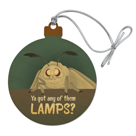 Moth Lamp Meme Wood Christmas Tree Holiday Ornament ()