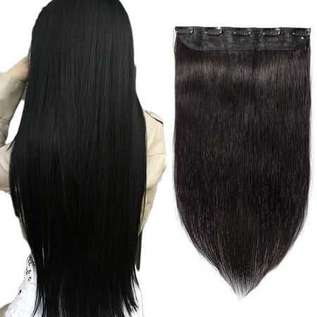 S-noilite 100% Human Hair Clip In Hair Extensions 15 Colors Can Curly Dyed Washed 1 Piece/5 Clips Natural