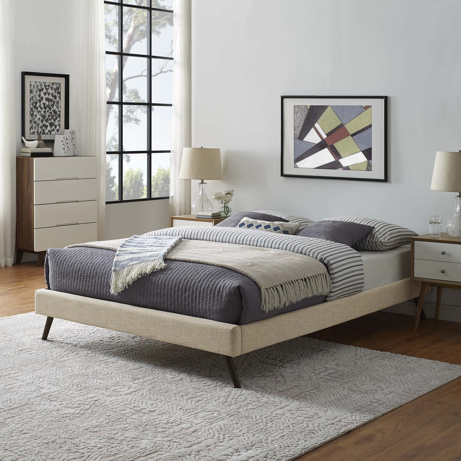 Modway Loryn Full Fabric Bed Frame with Round Splayed Legs in Beige