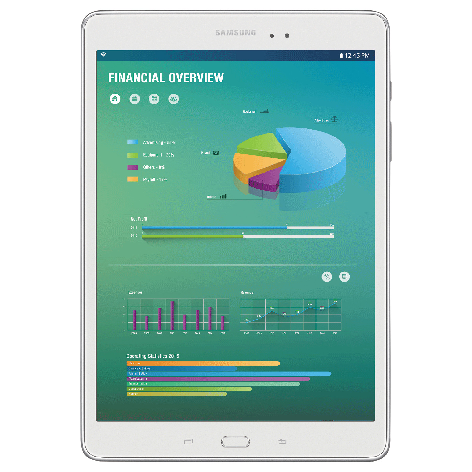 """Samsung Galaxy Tab A - tablet - Android 5.0 (Lollipop) - 16 GB - 8"""" , White"""