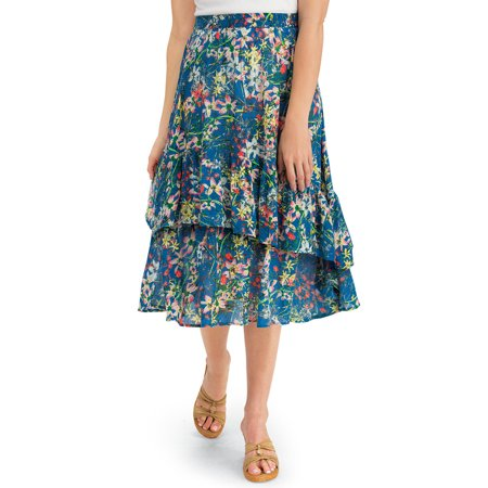Women's Tiered Ruffle Floral Print Woven Knee Length Midi Skirt, Medium, Blue ()