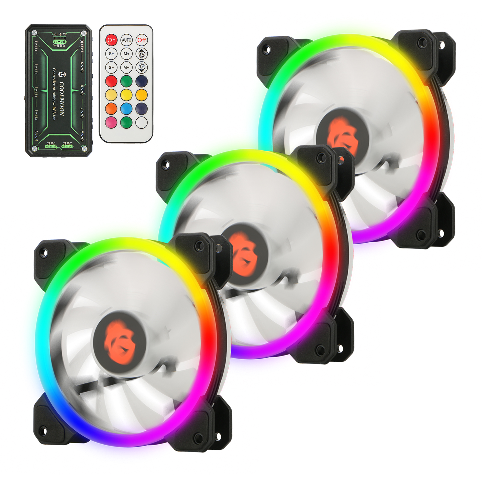 RGB PC Fans, EEEKit Unique 3-IN-1 Kit 12V 120mm RGB LED Computer Case Cooling Fan CPU Cooling Fan Arc-Shaped Frame with Remote Controller, 3-Pack