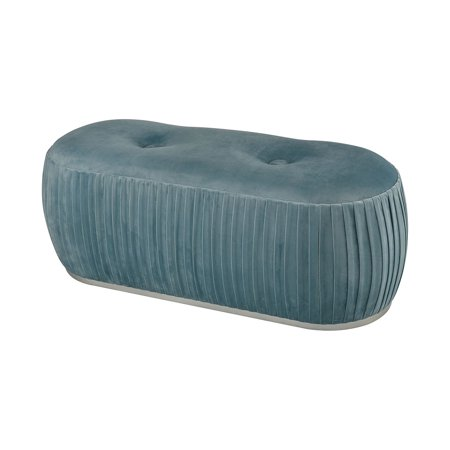 Sterling Bonnie Double Bench in Duck Egg Blue Velvet and Silver Finish