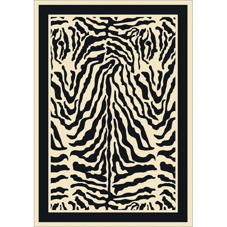 Milliken Top 30 Area Rugs - Contemporary Zebra Bordered Zebra Print Safari Rug