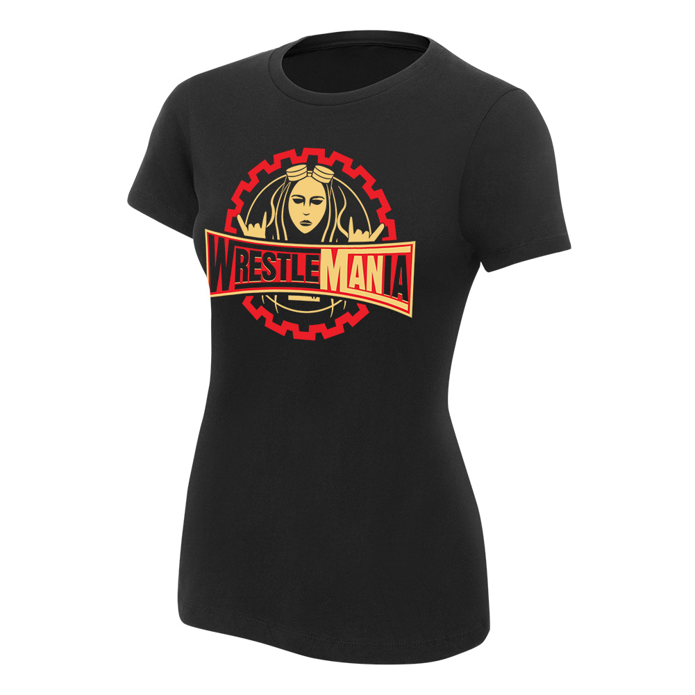 """Official WWE Authentic Becky Lynch """"WrestleMANia"""" Women's T-Shirt Black Small"""