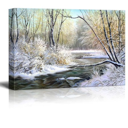 Landscape Canvas Prints (Canvas Prints Wall Art - Winter Landscape with the Wood River - 24