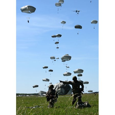 LAMINATED POSTER Paratroopers assigned to 173rd Airborne Brigade conduct a Joint Forcible Entry into Ã'Â_widwin Air Bas Poster Print 24 x 36