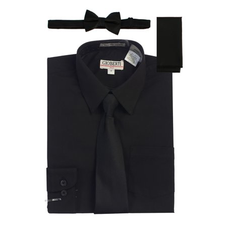 c87b0b19dca47 Gioberti - Gioberti Boys Black Solid Shirt Tie Bow Tie Square Pocket 4 Pc  Set - Walmart.com