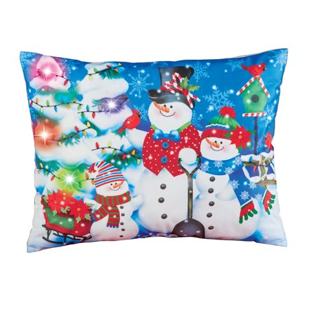 Snowman Family Lighted Christmas Throw Pillow, Home Decorative Accent