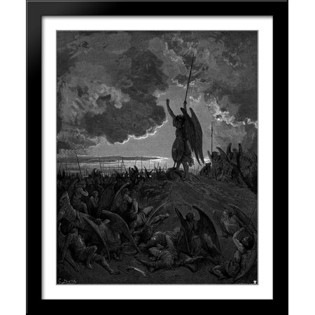 They heard, and were abashed, and up they sprung 28x34 Large Black Wood Framed Print Art by Gustave Dore