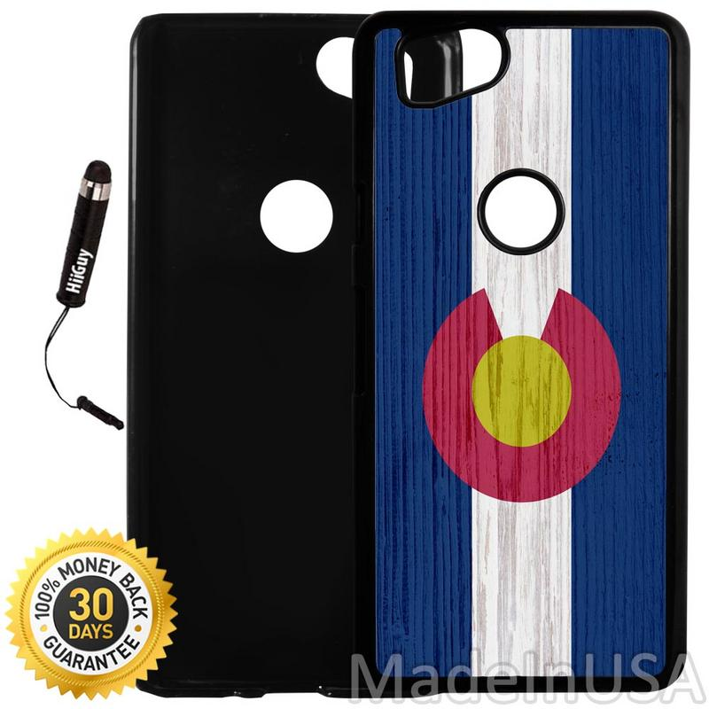 Custom Google Pixel 2 Case (Colorado State Flag on Wood) Plastic Black Cover Ultra Slim | Lightweight | Includes Stylus Pen by Innosub