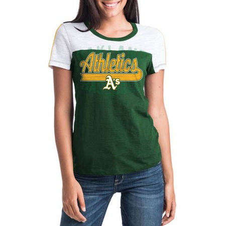 MLB Oakland Athletics Women's Short Sleeve Team Color Graphic Tee - Oakland Athletics Water