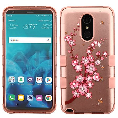 LG Stylo 4 Phone Case Tuff Hybrid Shockproof Impact Rubber Dual Layer Hard Soft Protective Hard Case Cover 2D Spring Flowers Rose Gold Phone Case for LG Stylo - Flowers Phone