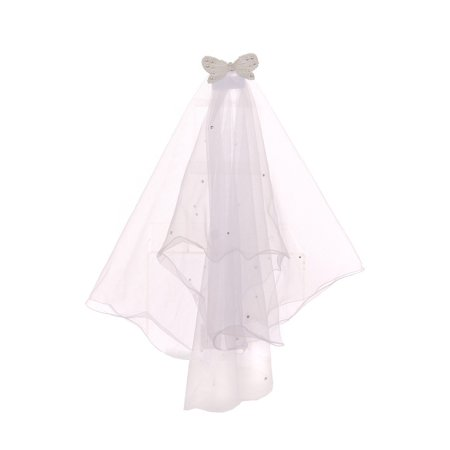 Cinderella Couture Girls White Pearl Butterfly Comb Communion Flower Girl - Veil Communion