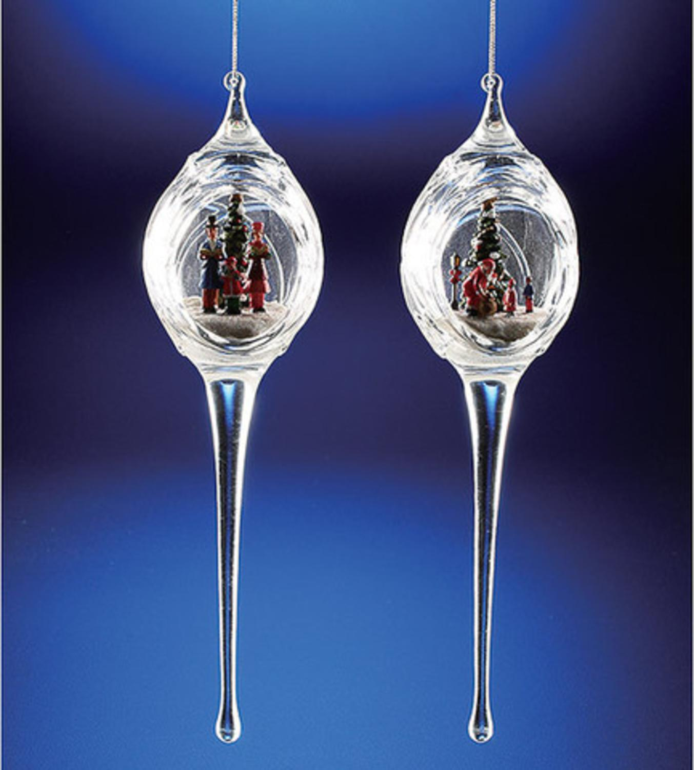 Pack of 6 Icy Crystal Egg-Shaped Christmas Scene Ornaments with Icicles 9.3""