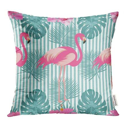 CMFUN Blue Hawaiian Tropical Exotic Pink Flamingos Palm Leaves Colorful Stripes Pillowcase Cushion Cover 18x18 inch