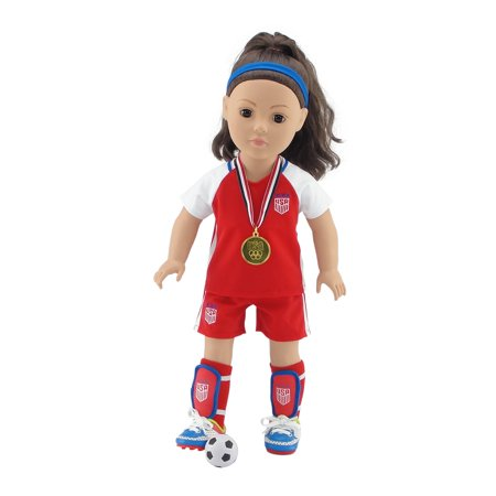 Antique Dolls Value (18 Inch Doll Clothes | Team USA 8 Piece Value Pack Doll Soccer Uniform, Including Shirt, Shorts, Socks, Ball, Shin Guards, Headband, Soccer Shoes/Cleats and Realistic Gold Medal! | Fits American Girl )
