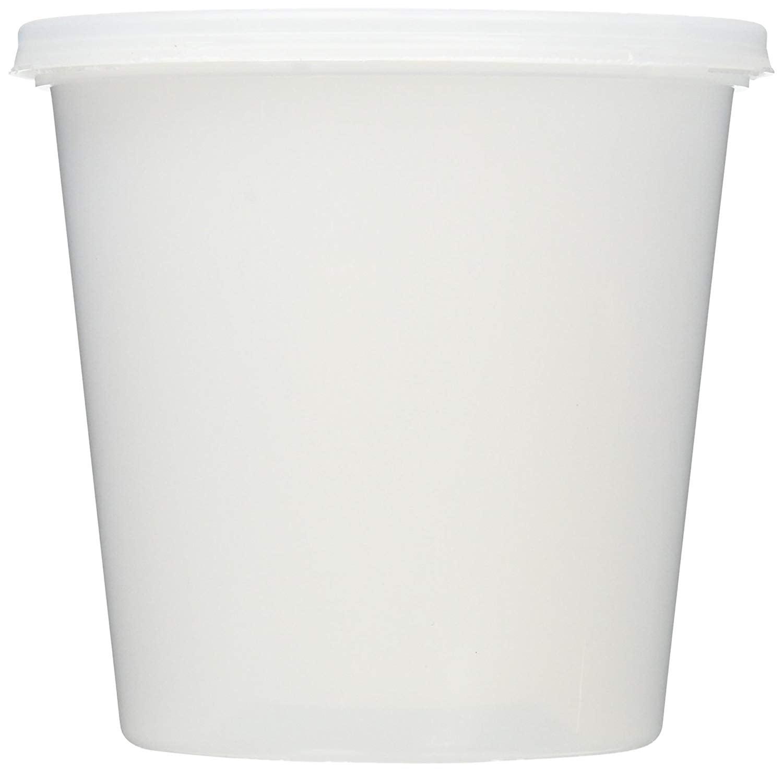 8-64 oz.White Plastic Deli Food Storage Containers Lids Soup Freezer Microwave