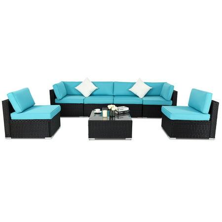 Costway 7 Pcs Rattan Wicker Patio Set Outdoor Sectional Sofa